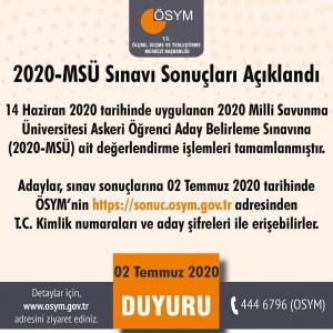 MSÜ-2020 SONUÇLARI AÇIKLANDI !