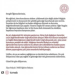 MİLLİ EĞİTİM BAKANI PROF. DR. ZİYA SELÇUK'TAN SINAV AÇIKLAMASI.